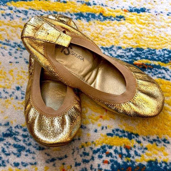 Yosi Samra Gold Leather Flats